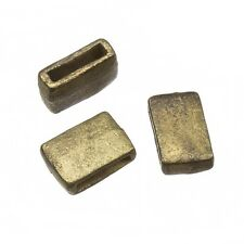 Brass Plain Cast Metal Rectangle Slider Bead 15x10mm Pack of 3 (C82/24)