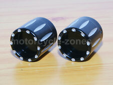 Black Deep Edge Cut Front Axle Nut Cover For Harley Dyna Electra Glide Road King