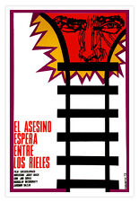 Cuban film Graphic Design movie Poster.Killer WAITS by the TRAIN.decor art
