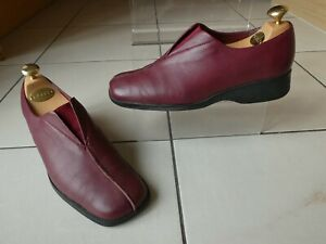 *CLARKS* Ladies Oxblood Leather SQUARE TOE SLIP ON FLATS uk6 eur39 GC rrp£65