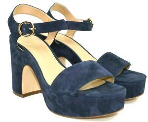 Michael Kors Women's Blue Suede Open Toe Ankle Strap Platform Heels Size 9.5