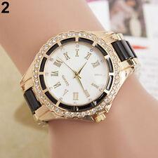 Armbanduhr Damenuhr gold Strass Analog Quarz Damen schwarz Faltschließe Uhr NEU
