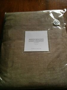 Set of 2 Restoration Hardware Grommet Sheer Belgian Linen Drapery 50x84 Charcoal