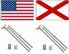 3x5 Usa American & State of Alabama Flag & 2 Aluminum Pole Kit Sets 3'x5'