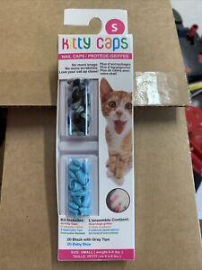 Kitty Caps Kitty Caps Nail Caps for Cats, Small, Black w/ Gray Tips & Baby Blue