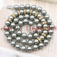 "Pretty 10mm Gray South Sea Shell Pearl Round Beads Necklace 18"" AAA"