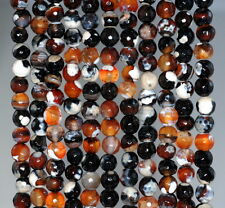 6MM  AGATE GEMSTONE ICE DARK BROWN FACETED ROUND LOOSE BEADS 14.5""