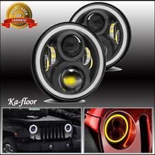 Pair 7 inch Led Headlight Round DRL Headlamp For Triumph TR6 TR7 TR8 JEEP JK DOT