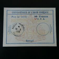 SÉNÉGAL COUPON RÉPONSE DE L'UNION FRANCAISE / DAKAR 19.08.59 / 30CFA SUR 16FRS