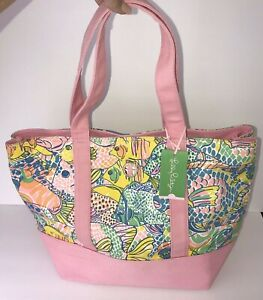 Lilly Pulitzer Tote Bag Party School Pink Canvas Fish New Tags