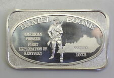 US Silver Corporation Daniel Boone 1973 One Troy Ounce .999 Fine Silver Art Bar
