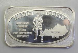 *NICE* US Silver Corporation Daniel Boone 1973 1oz .999 Fine Silver Art Bar