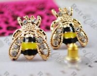 BETSEY JOHNSON cute CRYSTAL rhinestone BEE STUD EARRINGS bees BJ gold pl studs