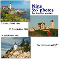 Maine lighthouses color photos lot ME boat harbor light