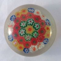 Vintage Murano Style Millefiori Cane Glass Paperweight Flowers Signed