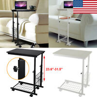 Height Adjustable Desk with Detachable Wheels Sofa Side Laptop Table Book Shelf