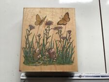 HOUSEMOUSE BUTTERFLIERS WOODEN BACKED RUBBER STAMP USED HOUSE MOUSE
