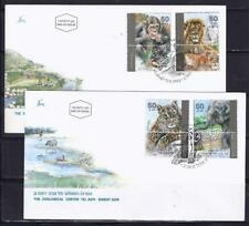 ISRAEL STAMPS 1992 ZOO ANIMALS FAUNA 2 FDC LION MONKEY TIGER