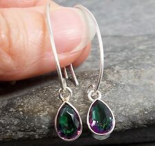 Long 925 Silver MYSTIC TOPAZ Hook Wire Earrings E641~Silverwave*uk Jewellery