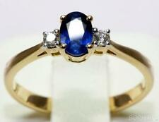 Solitaire with Accents Sapphire 18k Engagement Rings