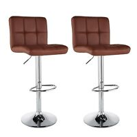 Set of 2 Counter Height PU Leather Bar Stools Adjustable Swivel Pub Chairs Brown