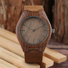 Classic Men's Wooden Watch Natural Bamboo Round Case Leather Quartz Wristwatch