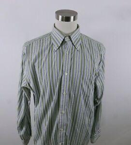 Express Mens Cotton LS Button Up Olive Green Purple Striped Dress Shirt XL