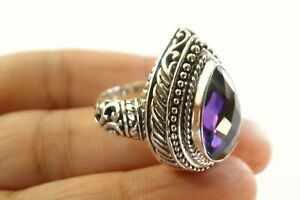 Pear Shaped Purple Amethyst Solitaire 925 Sterling Silver Ring Size 6 7 8 9