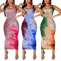 FJ- WOMEN FASHION BOHO TIE DYE MAXI DRESS SLEEVELESS O-NECK BODYCON DRESSES STUN