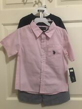 US Polo Assn. Boys 3-Piece Size Large 6 Tee Shorts Set Outfit Pink / Navy Blue