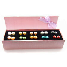 10 Pairs of Cultured Freshwater Pearl Sterling Silver Earrings Gift Boxed Set