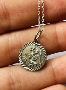 Vintage St George silver pendant with 16 inches silver chain