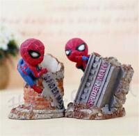Super Hero Spider-Man Pen Holder Resin Desk Decor Action Figure Xmas Gift New