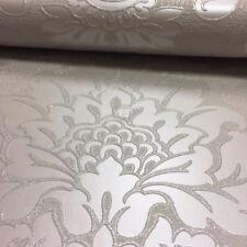 Damask Wallpaper Luxury Embossed Vinyl Glitter Quartz Fine Decor Grey Silver