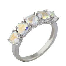 5 Hearts Genuine Mercury Mist Mystic Topaz Heart Ring .925 Sterling Silver