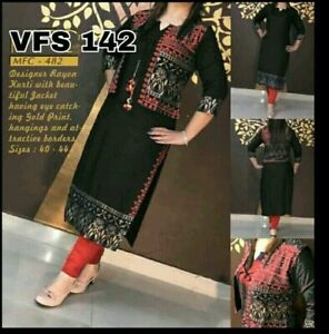 Indian Ethnic Straight Kurta Golden Print Black Kurti Jacket Bollywood Dress
