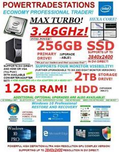 DELL TRADING COMPUTER 4MONITOR HexaCORE 3.46MaxTURBO! 256SSD&2TBHDD 12GBRAM W10P