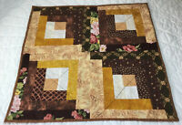 Patchwork Quilt Table Topper, Log Cabin, Floral Calicos, Brown, Gold, Beige