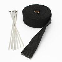 Black Exhaust Heat Wrap Manifold Downpipe High Temp Bandage 10M Tape Roll 10Tie