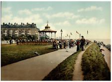Folkestone. Lees Promenade and Bandstand.  PZ vintage photochromie,  photochro
