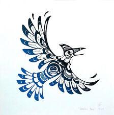 Stellar's Jay Print - Northwest Coast Haida Style Bird Art Screenprint 12x12