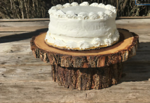 Small Elm Wood Rustic Cake Cupcake Stand Wedding party shower wooden, lumberjack