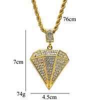 Gold Plated Iced Diamond shaped Necklace Bling Hip Hop Punk Rock Jewelry for Men