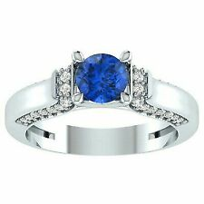 Solitaire Blue Sapphire Engagement Ring 14k White Gold Over Wedding