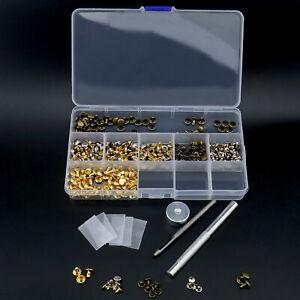 180 Set 2 Size Copper Double Cap Rivet Tubular Metal Studs DIY Fixing Tool Kit