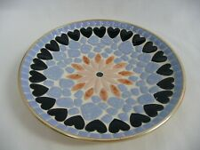 "Handmade 8 1/2"" Mosaic Plate Flower Center Band of Hearts Blue Enamel Pieces"