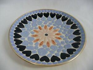 "Handmade 8 1/2"" Mosaic Plate Flower Center Band of Hearts Blue Enamel Pieces"