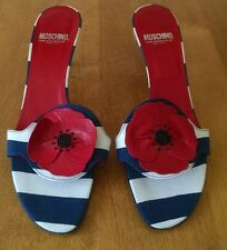 Moschino Cheapandchic Red, White and Blue Kitten Heel Mule, NEW 39.5