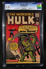 INCREDIBLE HULK # 6 CGC 1.5 - 1st Appearance of the Metal Master - Early Marvel