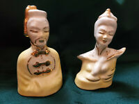 Vintage Asian Oriental Man & Woman Statues Ceramic Chinese Figurines